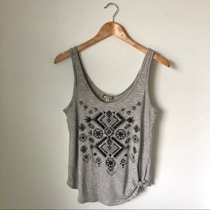 NWT stripe embroidered tie front tank